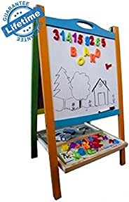 Double Sided Wooden Art Easel. Standing Magnetic Whiteboard Chalkboard Small Toddler Toys. Includes Wooden ABC