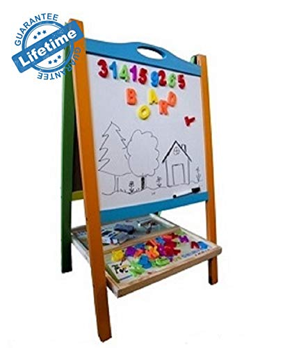Elk & Bear Double Sided Magnetic Whiteboard Painting Easel for Small Kids and Toddlers (Learning Easel)