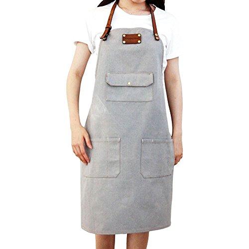 HAPPYTOOL flap pocket Shop Denim Canvas Shop Apron With Adjustable Straps & Quick Release Straps,1 flap pocket+6 multi pockets (Grey) (Strap Adjustable Quick)