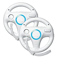 GordVE GVE056 Wii controller White Steering Mario Kart Racing Wheel game controller for Nintendo Wii Remote Game-- white( 2 PCS )