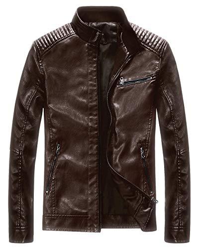 (Fairylinks Leather Jacket Men Black Motocycle Lightweight Classic)