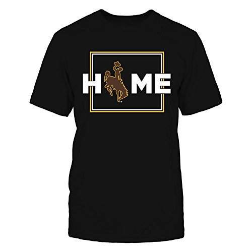 FanPrint Wyoming Cowboys T-Shirt - Home with State Outline - Premium Men's Tee/Black/S