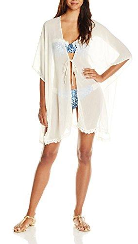 KingsCat Drawstring Beach Swimsuit Cardigan Tops Bikini Cover up,White