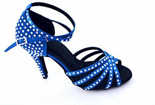 Ballroom diamant Shoes Womens High Heels Danse Wymname Bleu Sandale Dancing De Chaussures Latine nOYqnRXx