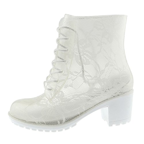 Antideslizantes Lluvia Blanco Botas Alto De Tacón Mujer Botines WqaAwF1Ya