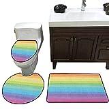 Vintage Rainbow Bath Rug Set Vintage Abstract Lines with Rainbow Colors Grunge Old Fashioned Stripes Toilet Floor mat Set Multicolor