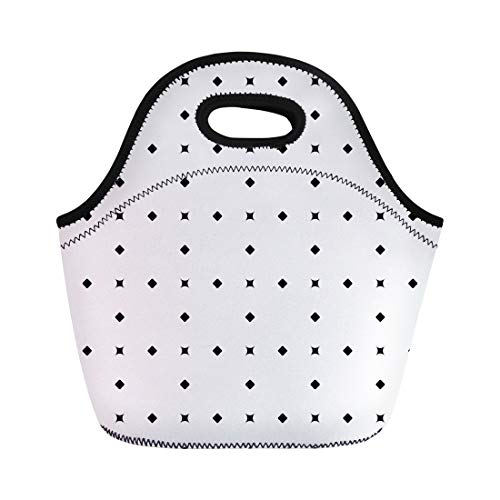 Semtomn Lunch Tote Bag Rhombuses and Dots Pattern Diamonds Shapes Checks Ethnic Mosaic Reusable Neoprene Insulated Thermal Outdoor Picnic Lunchbox for Men Women