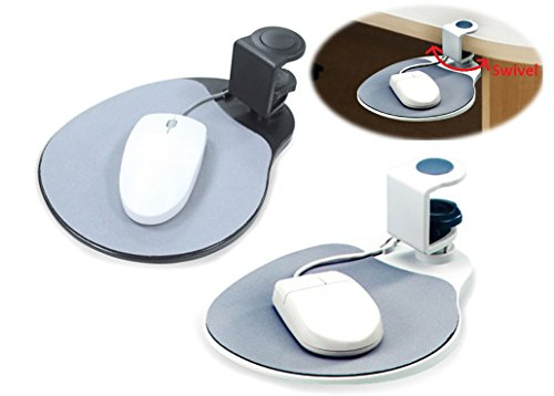 MAX SMART Ergonomic Mouse Pad / Mouse Platform/ Attachable Desk Shelf, Clamp on, Rotating 360° under Desk (platinum)
