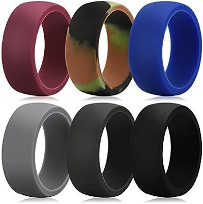 Tres teclas 8,7 mm silicona anillos de boda para hombre 6 Pack FDA ...