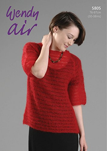 Wendy Ladies Sweater Top Air Knitting Pattern 5805 2 Ply ()