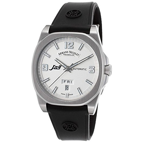 Armand Nicolet Men's J09 39mm Black Rubber Band Steel Case Automatic Silver-Tone Dial Watch 9650A-AG-G9660
