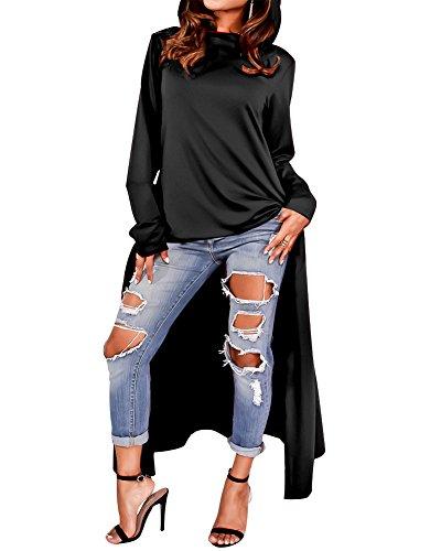 Women Pockets Sweatshirts Hoodie Pollver Irregular Style Plus Size Black XX-Large