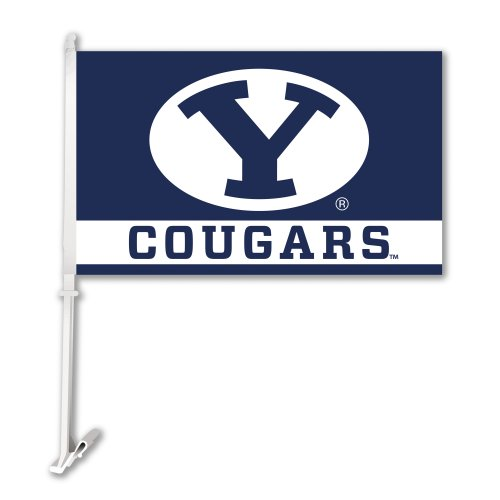 NCAA Brigham Young Cougars Car Flag With Wall Bracket (Byu Car Cougars)