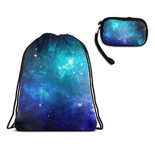 Galaxy Nebula Space Lightweight Drawstring Sack Gym Sports Rucksack, Waterproof Tote Cinch Sack Large Backpack With Clutch Travel Purse Coin Cash Purse]()