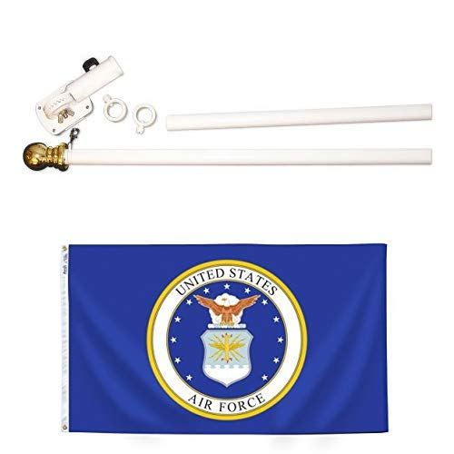 ft. Nyl-Glo U.S. Airforce Military Flag and 6 ft. 2 Section Spinning Pole Mounting Set ()
