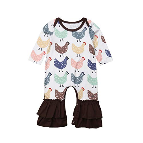 Newborn Infant Baby Girls Floral Romper Jumpsuit Long Sleeve Flare Pants Causal Clothes (Chicks, 0-6M)