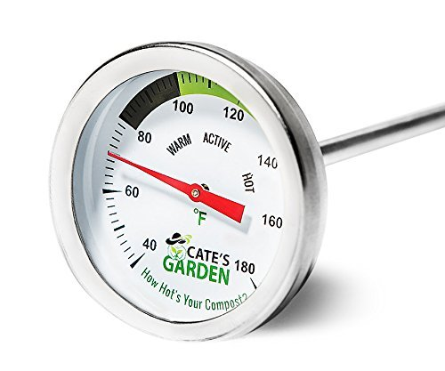 Bi Metal Dial (Compost Thermometer - Cate's Garden Premium Stainless Steel Bimetal Thermometer for Backyard Composting - 2 Inch Diameter Fahrenheit / Celsius Dial, 20 Inch Temperature Probe)