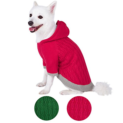 Blueberry Pet 2 Colors Warm Fleece Twist Cable Knitted Pull Over Hooded Dog Sweater in Raspberry, Back Length 10