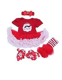 BabyPreg Baby Girls My 1st Christmas Santa Costume Party Dress 4PCS