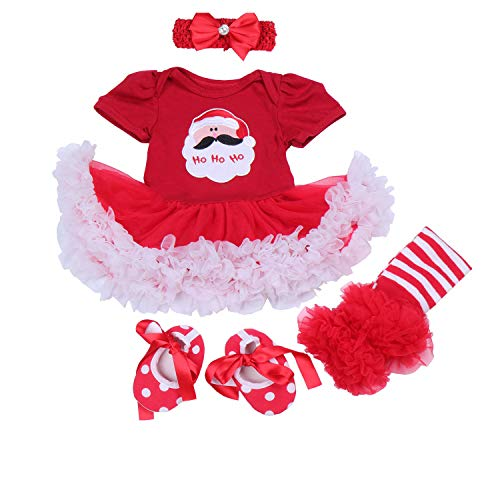 BabyPreg Baby Girls My First Christmas Santa Costume Party Dress 4PCS (S for 3-6 Months, Christmas Santa) -
