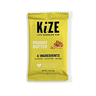 KiZE Bar (10 Pack) - Peanut Butter | Real Ingredients, Real People, Every Bar Helps Those in Need | Non GMO, Gluten Free, No Added Sugar, Simple Ingredients