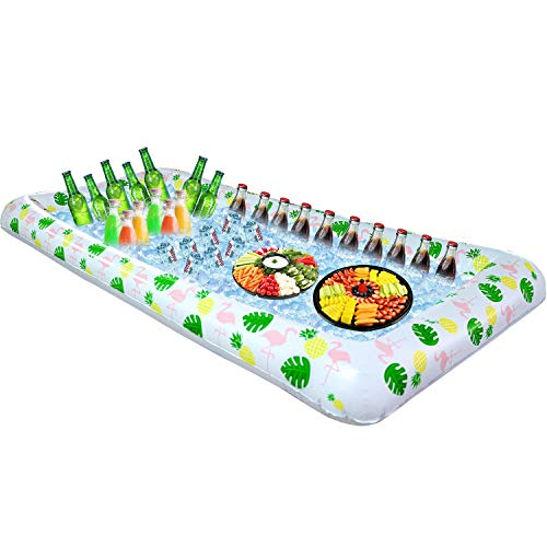- Tifeson Aloha Inflatable Serving Bar Buffet Salad Ice Tray - Tropical Style Serving Bar Cooler Food Drink Holder Containers - Outdoor BBQ Picnic Pool Party Luau Cooler with Drain Plug