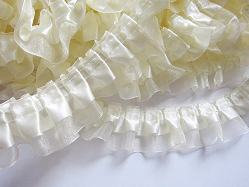 YCRAFT Pack of 5y Two Tone Satin Organza Lace Edge Trim 1.5