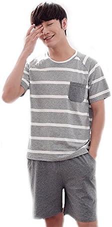 Msy yien メンズパジャマ 夏 ルームウェアパジャマ できます外に 半袖 上下セット 前開き ショートパンツ 着心地良い 良質綿パジャマ(綿100%)