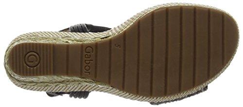 Gabor Shoes Comfort, Sandalias con Cuña para Mujer Negro (koala/schw. Bast)