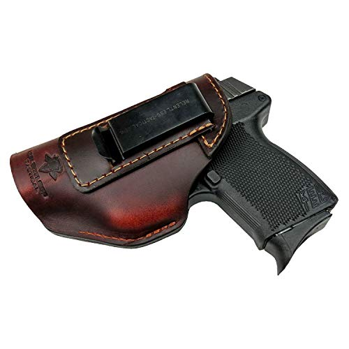Relentless Tactical The Defender Leather IWB Holster - Made in USA - Fits Glock 42 | Ruger LC9, LC9s | Kahr CM9, MK9, P9 | Kel-Tec PF9, PF11 | Kimber Solo Carry - Brown Left Handed