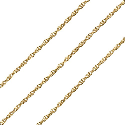 Beadaholique Bulk Twisted Rope Chain, with 1.6mm Links, 25 Foot Spool, 14K Gold Filled ()