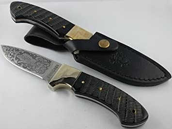 Cuchillo de caza de cerdo gamsjaga grabado negro bovino ...