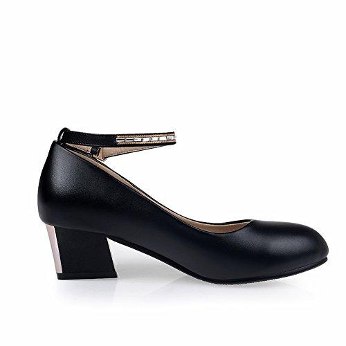 Balamasa Ladies Tacco Grosso Fibbia Gattini Morbidi Pumps-shoes In Materiale Nero