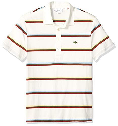 Lacoste Men's S/S Striped Light Jersey PIMA Cotton Polo Regular FIT, Flour/Multi, X-Large ()
