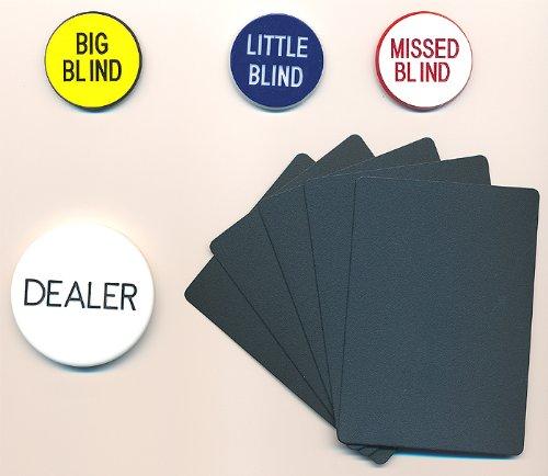 Poker SET 1 Dealer & 3 Blind Buttons + 5 Cut Cards