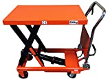 CasterHQ - MIGHTY LIFT LT1100 HYDRAULIC SCISSOR LIFT TABLE - HEAVY DUTY FOLDING - 1,100 LB LIFT TABLE - PREVENT BACK INJURIES, STRAIN, AND INCREASE PRODUCTIVITY