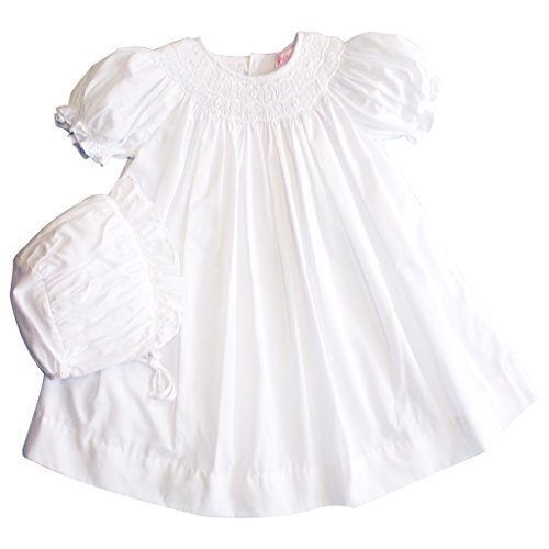 Petit Ami Daygown With Short Raglan Sleeves and Wave Smocking (Smocked Baby Dress White)