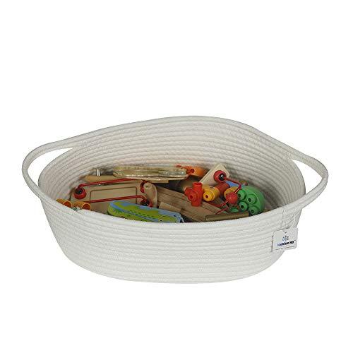 Iceblue 15X11X6.3 White Woven Basket Handle Design Cotton Rope Storage Organizer Nursery Baby Toys Storage (Large)