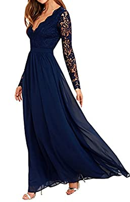 Chuanqi Women's Floral Lace Long Sleeve Deep V Neck Vintage Bridesmaid Maxi Dress