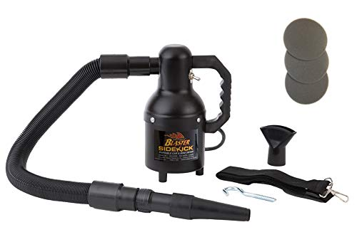 Metro Vac Blaster Sidekick Professional Motorcycle Dryer In Black Matte Finish | Includes 3 Extra Filters - 3' to 6' Stretch Hose - Rubber Nozzle - Shoulder Strap - Wall ()