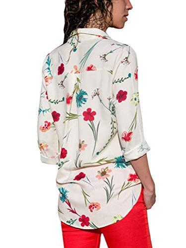 Camicetta Minetom Floreale Camicia Scollo Donna Elegante Lunghe Chiffon Bluse Blusa Bianca V Casuale Moda Top Casuale Boho Maniche rZZEX