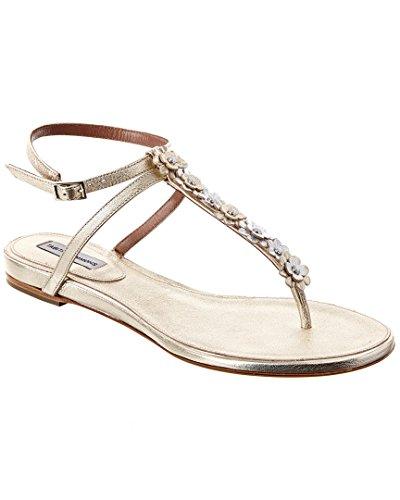 r T-Bar Strap Metallic Leather Sandal, 37, Metallic ()