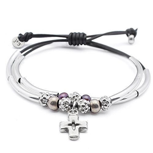 Faith 2 Strand Adjustable Black Leather Silver Plated Charm Bracelet w Silver Cross Charm
