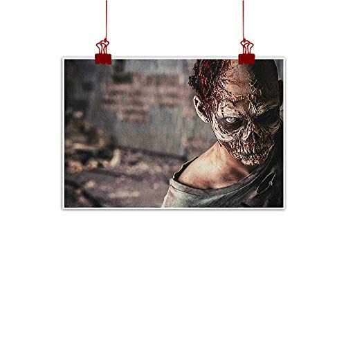 Decorative Music Urban Graffiti Art Print Zombie,Dead Person in Ruined House with Creepy Looking Murder Killing Scary Artsy Print, Taupe Peach 32