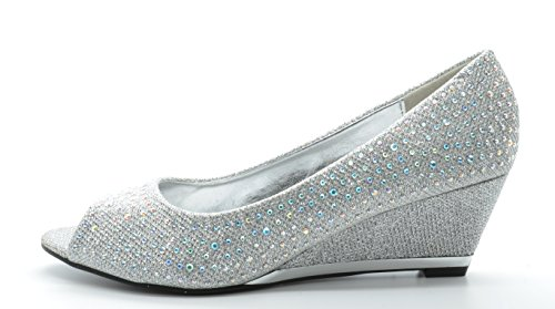 SASSY SEXY VOGUE-2 Women's Sophisticated Open Toe Rhinestones Embelishment Wedge Pump New Silver Size 7.5