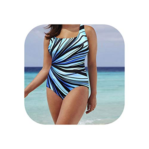 mamamoo Swimwear Women Striped Print Bathing Suit Large Size One Piece Swimsuit XXXXL Swimming Suit,Sky Blue,L from mamamoo