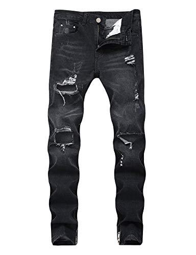 (Enrica Men's Ripped Skinny Destroyed Holes Jeans Slim Fit Denim Pants)
