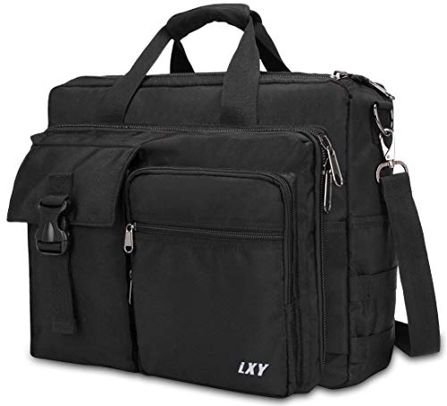 Men's Military Laptop Messenger Bag 15.6 Inch, LXY Laptop Briefcase Business Crossbody Bag Computer Shoulder Handbags Waterproof Attache Case for Electronics, Black
