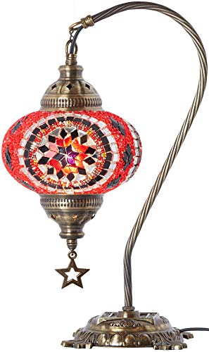 (33 Colors) DEMMEX 2019 Turkish Moroccan Mosaic Table Lamp with US Plug & Socket, Swan Neck Handmade Desk Bedside Table Night Lamp Decorative Tiffany Lamp Light, Antique Color Body (15)