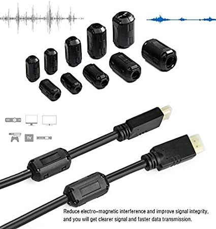 24 pcs Cable Coaxial Negro N/úcleo de Anillo de Ferrita Clip de Cable del Supresor de Ruido Filtro Antiinterferencias de Alta Frecuencia para Cable de Video 3,5mm 5mm 7mm Cable de Alimentaci/ón,